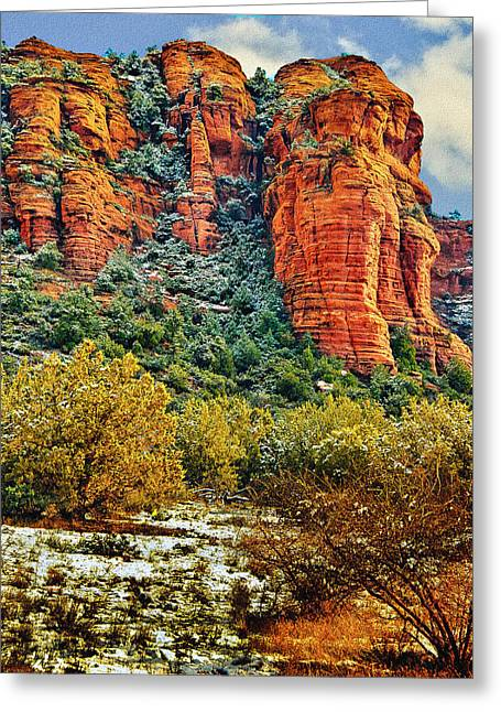 Greeting Card featuring the photograph The Secret Mountain Wilderness In Sedona Back Country by Bob and Nadine Johnston