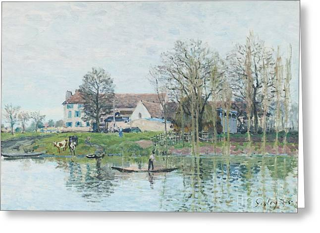 The Seine At Port Marly By Alfred Sisley Greeting Card