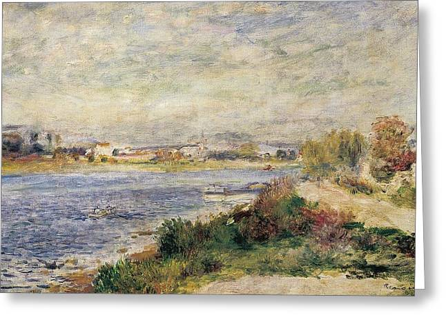 The Seine In Argenteuil Greeting Card by Pierre-Auguste Renoir