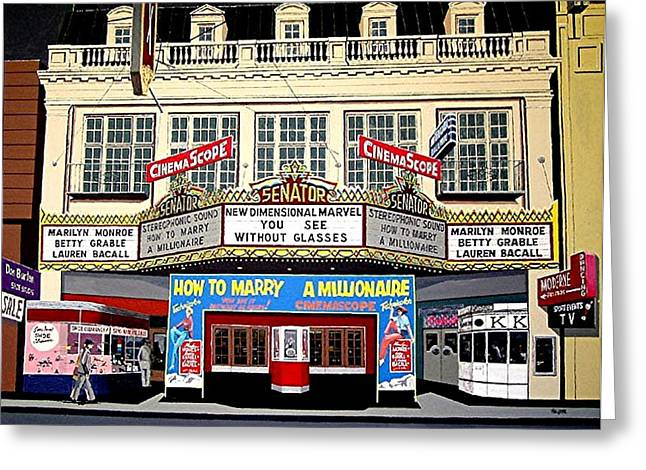 The Senator Theatre Greeting Card by Paul Guyer