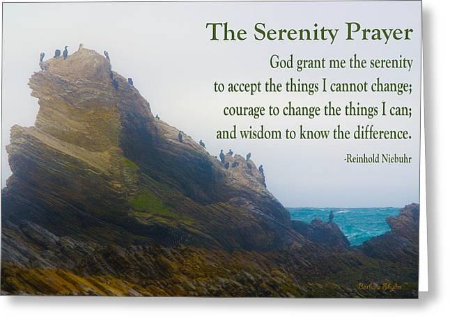 The Serenity Prayer Bird Rock Greeting Card