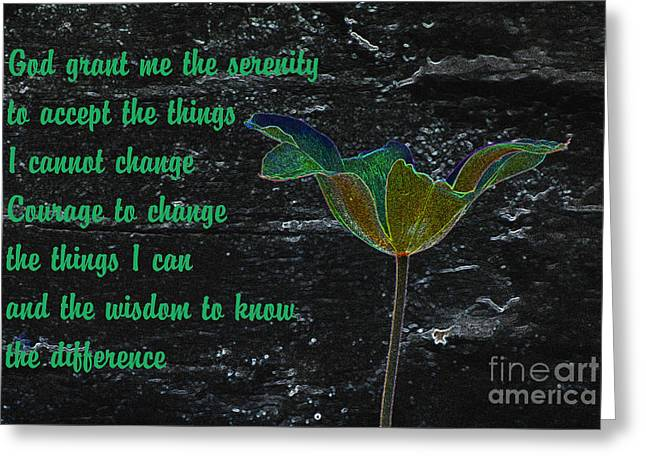 The Serenity Prayer 2 Greeting Card by Wendy Wilton