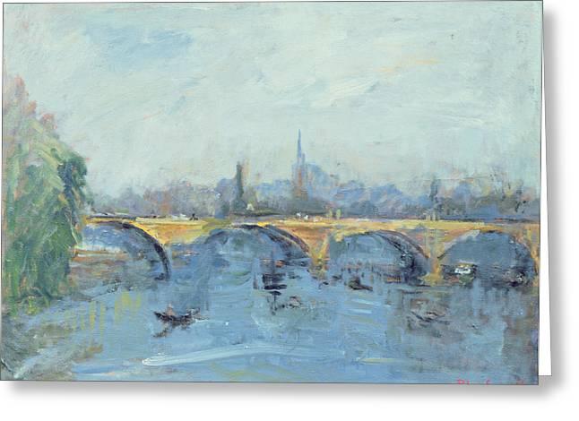 The Serpentine Bridge, London, 1996 Oil On Canvas Greeting Card