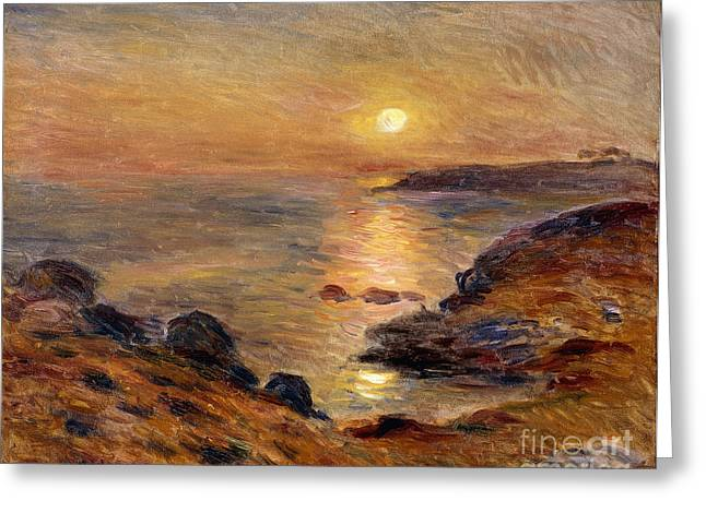 The Setting Of The Sun At Douarnenez61 Greeting Card by Pierre Auguste Renoir