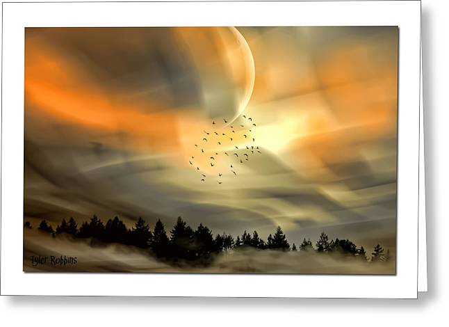 Greeting Card featuring the mixed media The Setting Sun Over The Rising Mist by Tyler Robbins