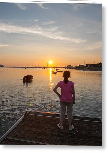 The Setting Sun With Child Greeting Card