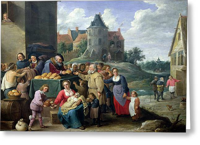 The Seven Acts Of Mercy Oil On Card Greeting Card by David the Younger Teniers