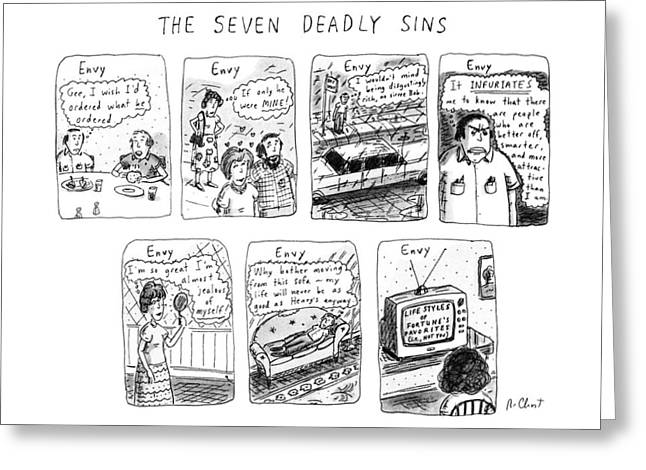 The Seven Deadly Sins Greeting Card by Roz Chast