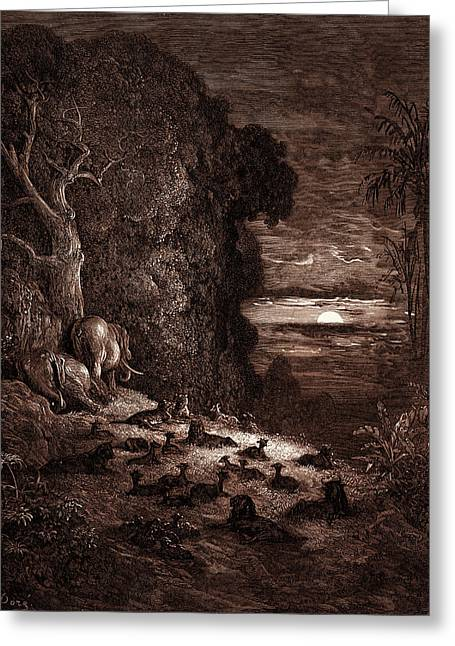 The Seventh Evening In Eden, By Gustave Dore Greeting Card