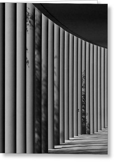 The Shadows And Pillars  Black And White Greeting Card by Mark Dodd