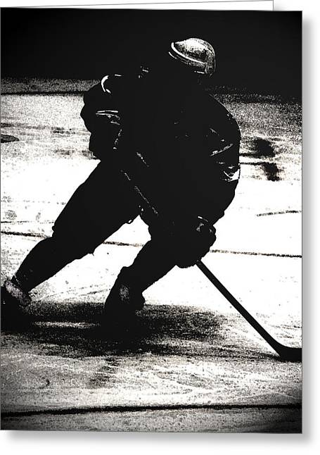 The Shadows Of Hockey Greeting Card by Karol Livote