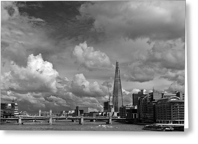 The Shard At Southwark Black And White Greeting Card by Gary Eason