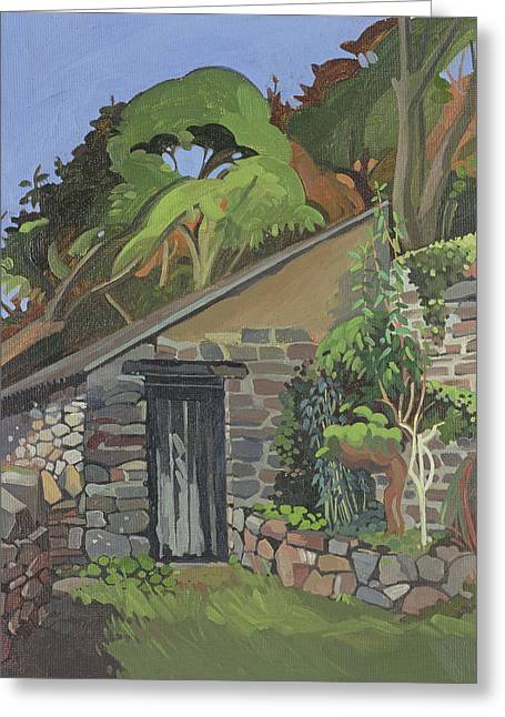 The Shed, Clovelly Oil On Board Greeting Card