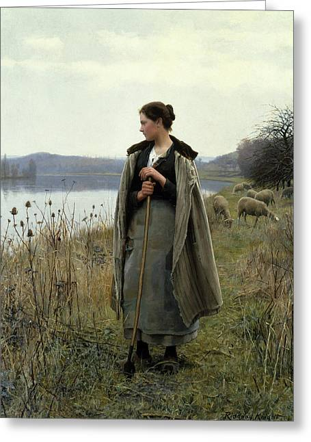 The Shepherdess Of Rolleboise Greeting Card
