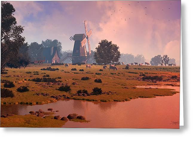 The Shepherd's Mill Greeting Card by Dieter Carlton