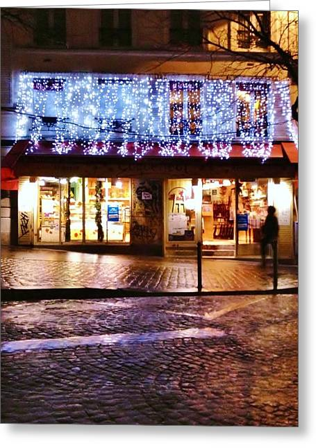 The Shimmer Of Lights In Paris Greeting Card by Jan Moore