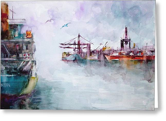 Greeting Card featuring the painting The Ship At Harbor Entrance by Faruk Koksal