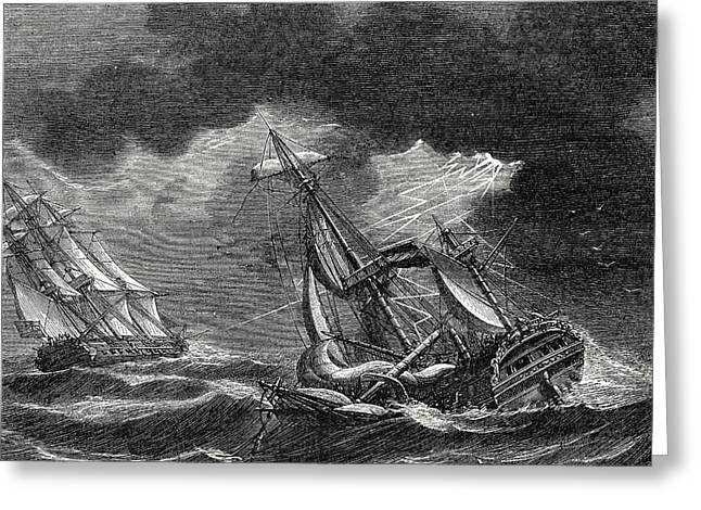 The Ship Of Captain Cook Is Spared Thanks To His Lightning Greeting Card by English School