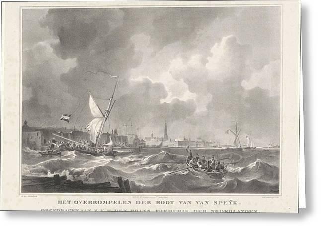The Ship Of Jan Van Speijk, 1831. Gijsbertus Craeyvanger Greeting Card