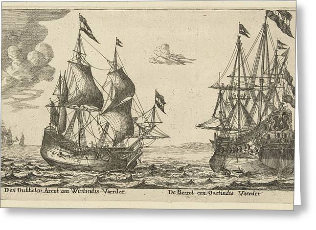 The Ships De Parel And De Dubbele Arend, Anonymous Greeting Card by Anonymous And Reinier Nooms