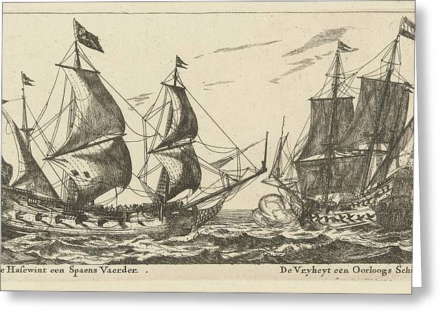 The Ships Freedom And The Greyhound, Anonymous Greeting Card by Anonymous And Reinier Nooms