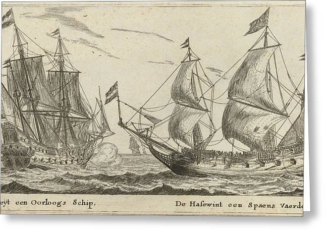 The Ships Freedom And The Greyhound, Print Maker Reinier Greeting Card by Reinier Nooms And Cornelis Danckerts I