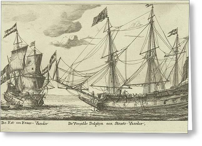 The Ships Vergulde Dolfijn And De Kat, Print Maker Anonymous Greeting Card