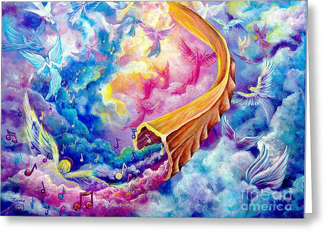 Greeting Card featuring the painting The Shofar by Nancy Cupp