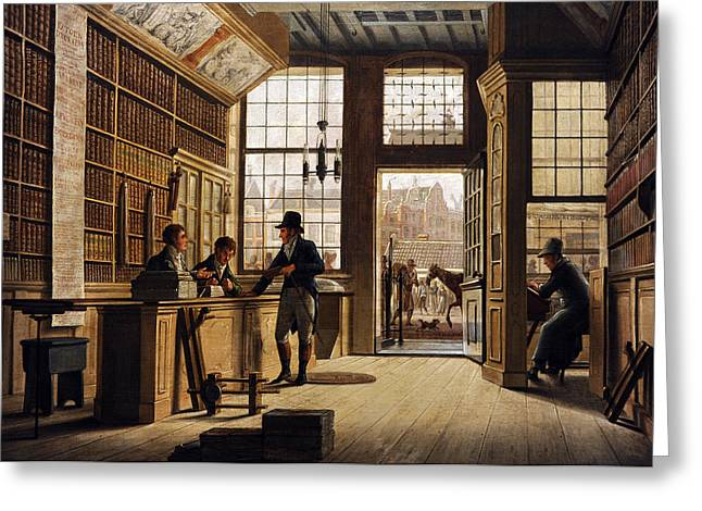 The Shop Of The Bookdealer Pieter Meijer Warnars On The Vijgendam In Amsterdam, 1820, By Johannes Greeting Card