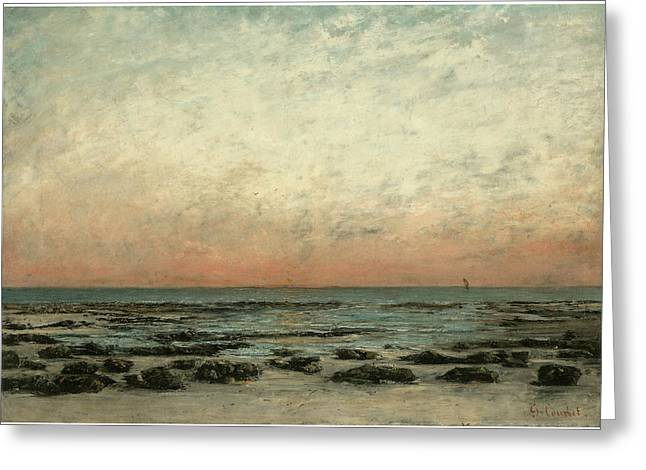 The Shore At Trouville Sunset Effect Greeting Card by Gustave Courbet