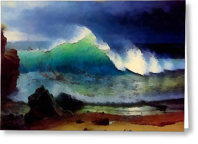 The Shore Of The Turquoise Sea Greeting Card by Albert Bierstadt