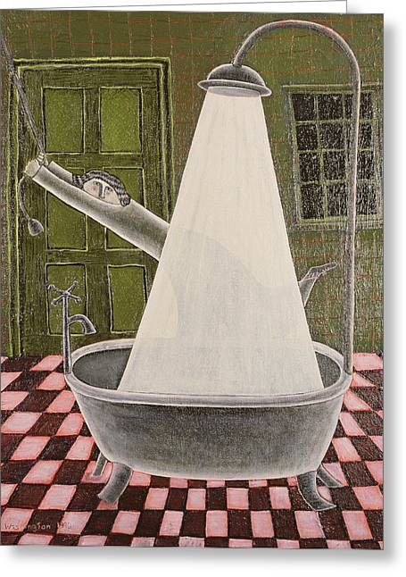 The Shower, 1990 Oil On Board Greeting Card
