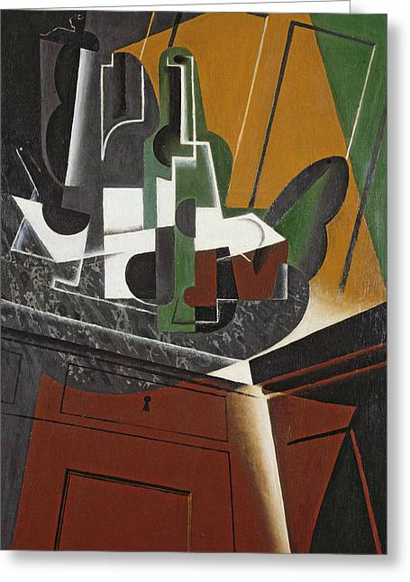 The Sideboard, 1917 Oil On Plywood Greeting Card by Juan Gris