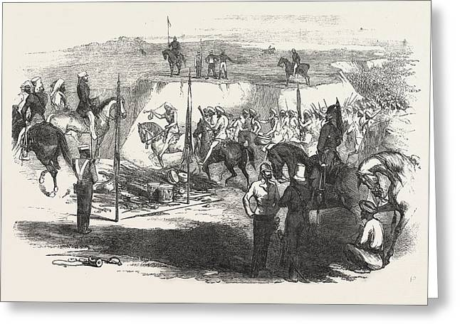 The Sikh Cavalry Deliveling Up Their Arms At Rawul Pindee Greeting Card
