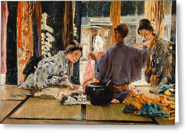 The Silk Merchant. Japan Greeting Card