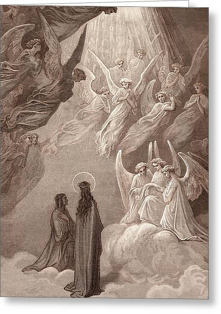 The Singing Of The Blessed In The Sixth Heaven Greeting Card by Gustave Dore
