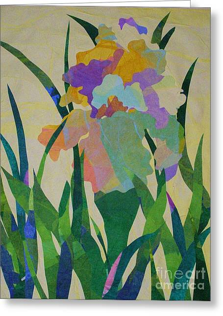 The Single Iris Greeting Card by Diane Miller