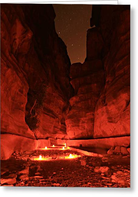 The Siq -- Petra Greeting Card by Stephen Stookey