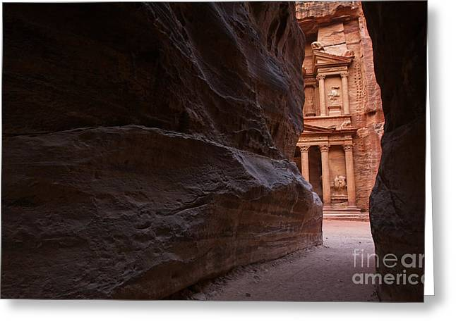 The Siq And Treasury At Petra Greeting Card by Robert Preston