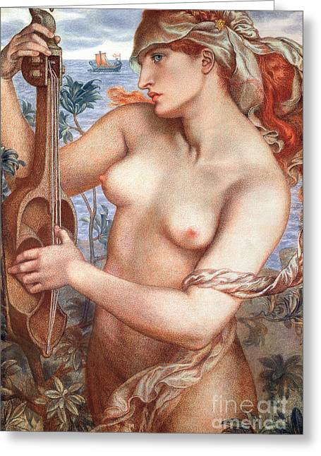 The Siren Greeting Card by Dante Charles Gabriel Rossetti
