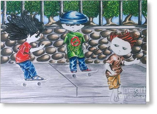 Stay Calm And Skateboard On Greeting Card by Rhonda Falls