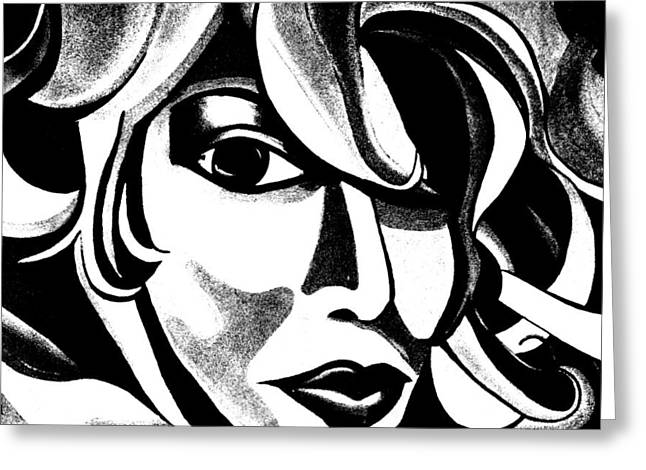 Black And White Abstract Woman Face Art Greeting Card