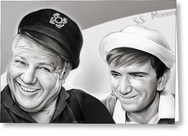 The Skipper And Gilligan Greeting Card by Greg Joens