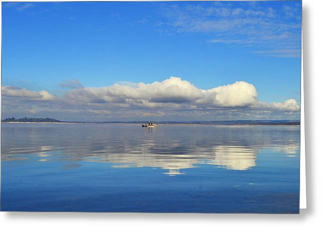The Sky The Lake And The Boat Greeting Card by Rima Biswas