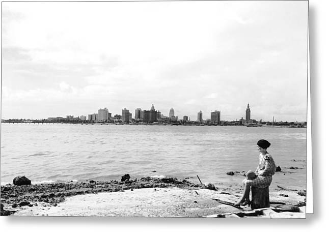 The Skyline Of Miami Greeting Card by Underwood Archives