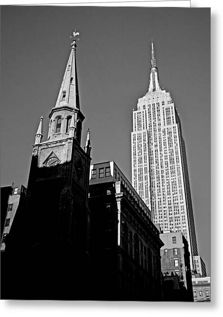 The Skyscraper And The Steeple Greeting Card by Joann Vitali
