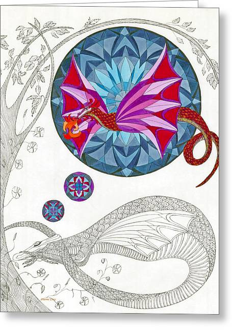 Greeting Card featuring the drawing The Sleeping Dragon by Dianne Levy