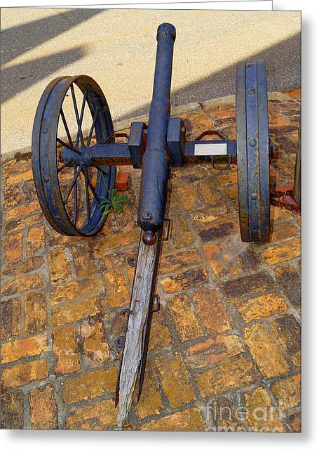 The Small Cannon Outside On The Sidewalk In Downtown Andersonville Georgia Greeting Card