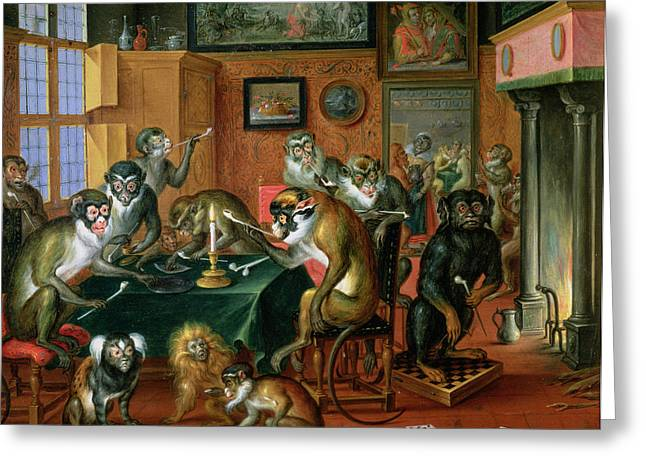 The Smoking Room With Monkeys Oil On Copper Greeting Card by Abraham Teniers