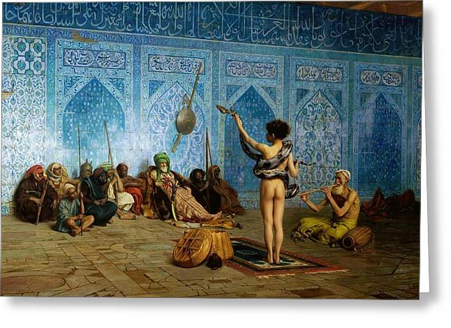 The Snake Charmer Greeting Card by Jean-Leon Gerome